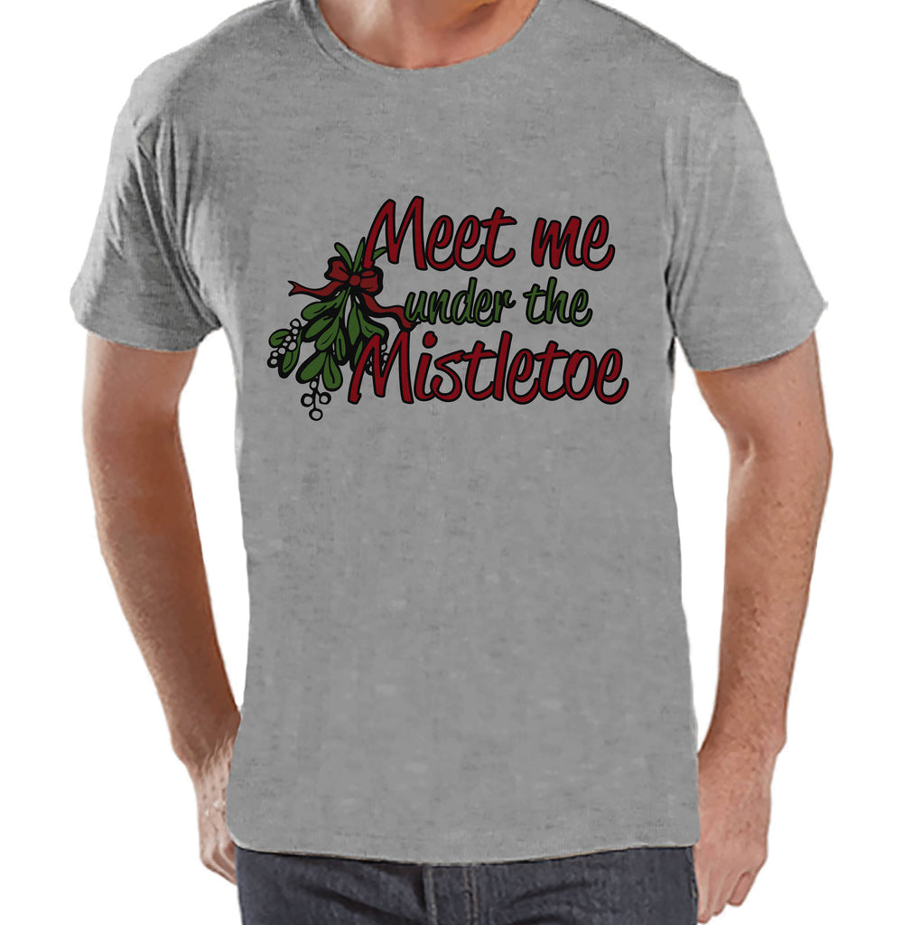 Mens Christmas Pajamas.Funny Men S Christmas Shirt Mistletoe Shirt Humorous Gift For Him Family Christmas Pajamas Grey T Shirt Christmas Gift Idea