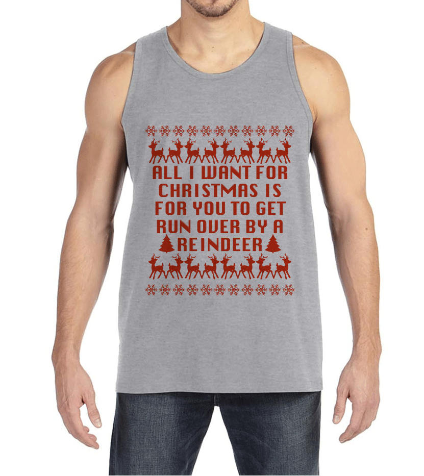 Funny Men's Christmas Shirt - Ugly Christmas Sweater Party - Funny Ugly Sweater Gift for Him - Grey Tank Top - Christmas Gift Idea