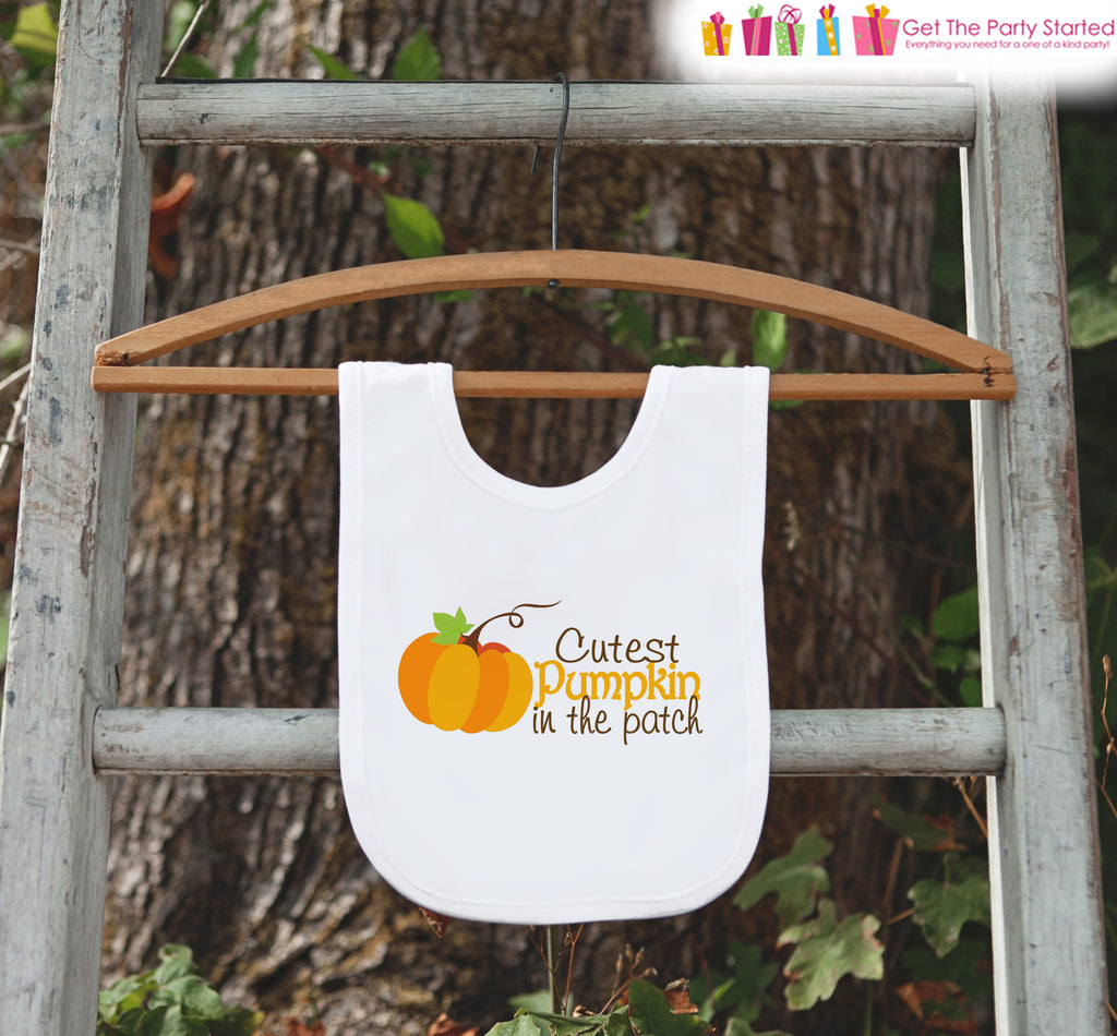 Thanksgiving Bib for Baby - Cutest Pumpkin in the Patch - First Thanksgiving Dinner Bib - Fall Autum Pumpkin Bib for Baby Boy or Baby Girl