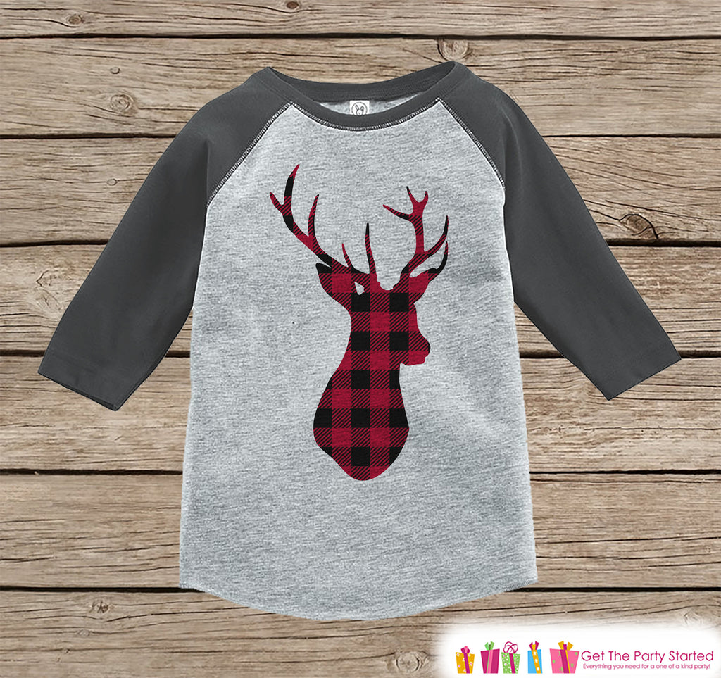 Plaid Deer Holiday Shirt or Onepiece