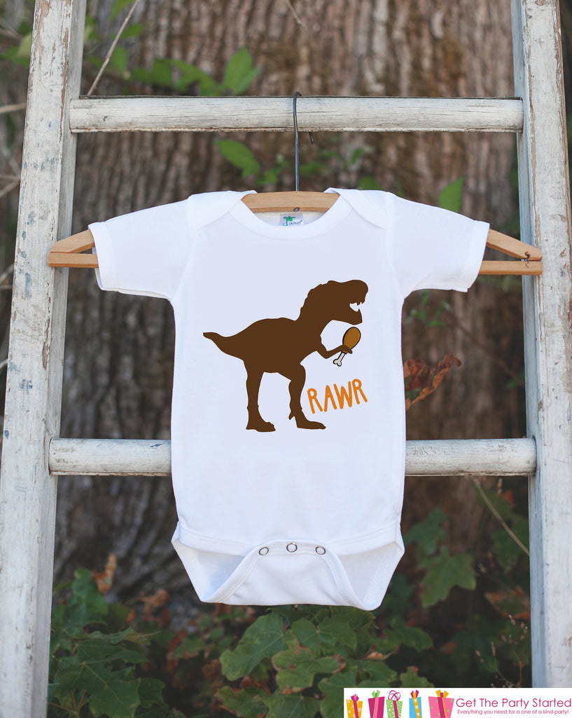 Boys Thanksgiving Shirt - Funny Turkey Leg Dinosaur Thanksgiving Onepiece or T-shirt - Funny Boy's Turkey Dino Outfit - Kids Thanksgiving