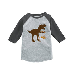 Kids Thanksgiving Shirt - Funny Pumpkin Pie Dinosaur - Grey Raglan Tshirt or Onepiece - Funny Thanksgiving Dino - Kids Thanksgiving Tee