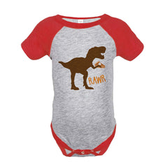 Kids Thanksgiving Shirt - Funny Pumpkin Pie Dinosaur - Red Raglan Tshirt or Onepiece - Funny Thanksgiving Dino - Kids Thanksgiving Tee