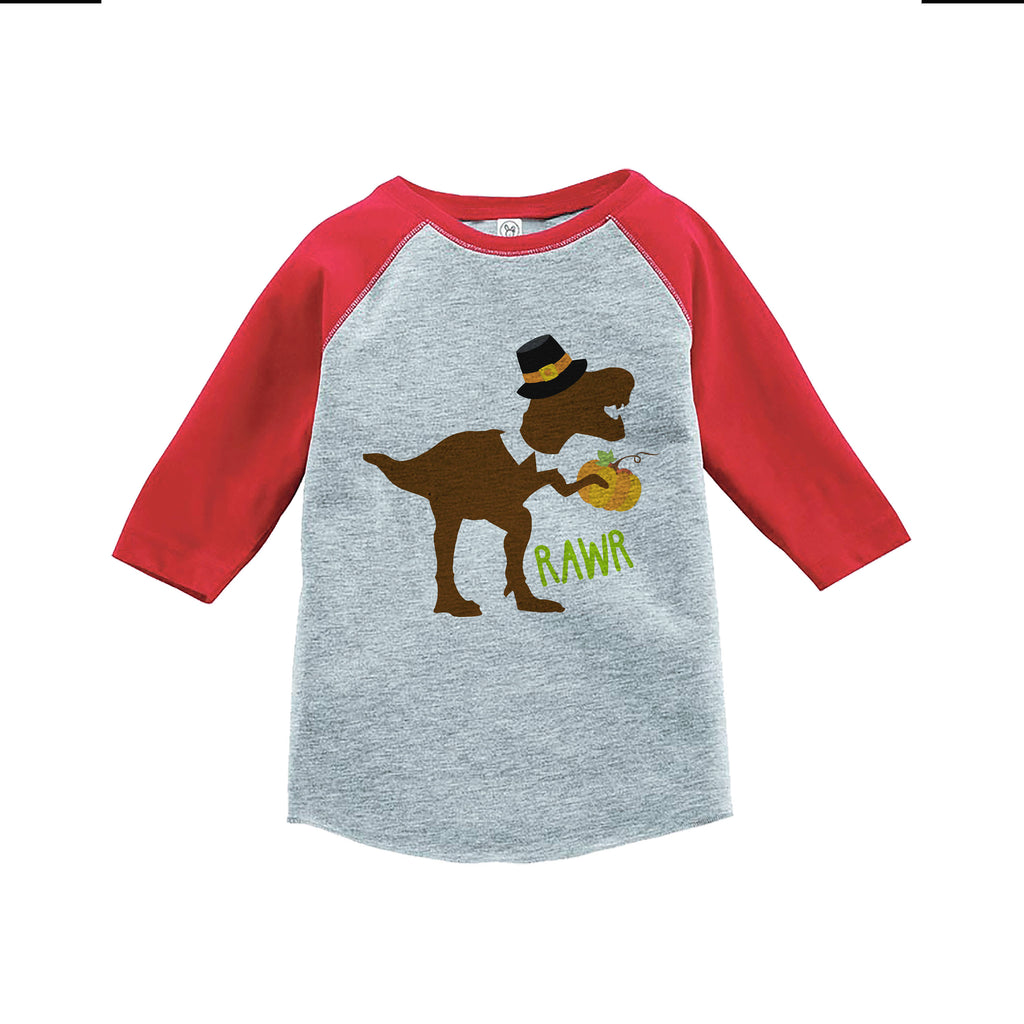 Kids Thanksgiving Shirt - Funny Pilgrim Dinosaur - Boys Red Raglan Tshirt or Onepiece - Funny Thanksgiving Dino - Kids Thanksgiving T-shirt