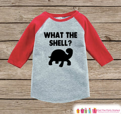 Funny Kids Shirt - What The Shell? - Kids Funny Onepiece or T-shirt - Turtle Outfit - Boys or Girls Red Raglan - Funny Kids Gift Idea