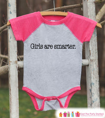 Funny Kids Shirt - Girls Are Smarter - Humorous Girls Onepiece or T-shirt - Funny Shirt - Baby, Kids, Toddler, Youth Pink Raglan - Gift Idea
