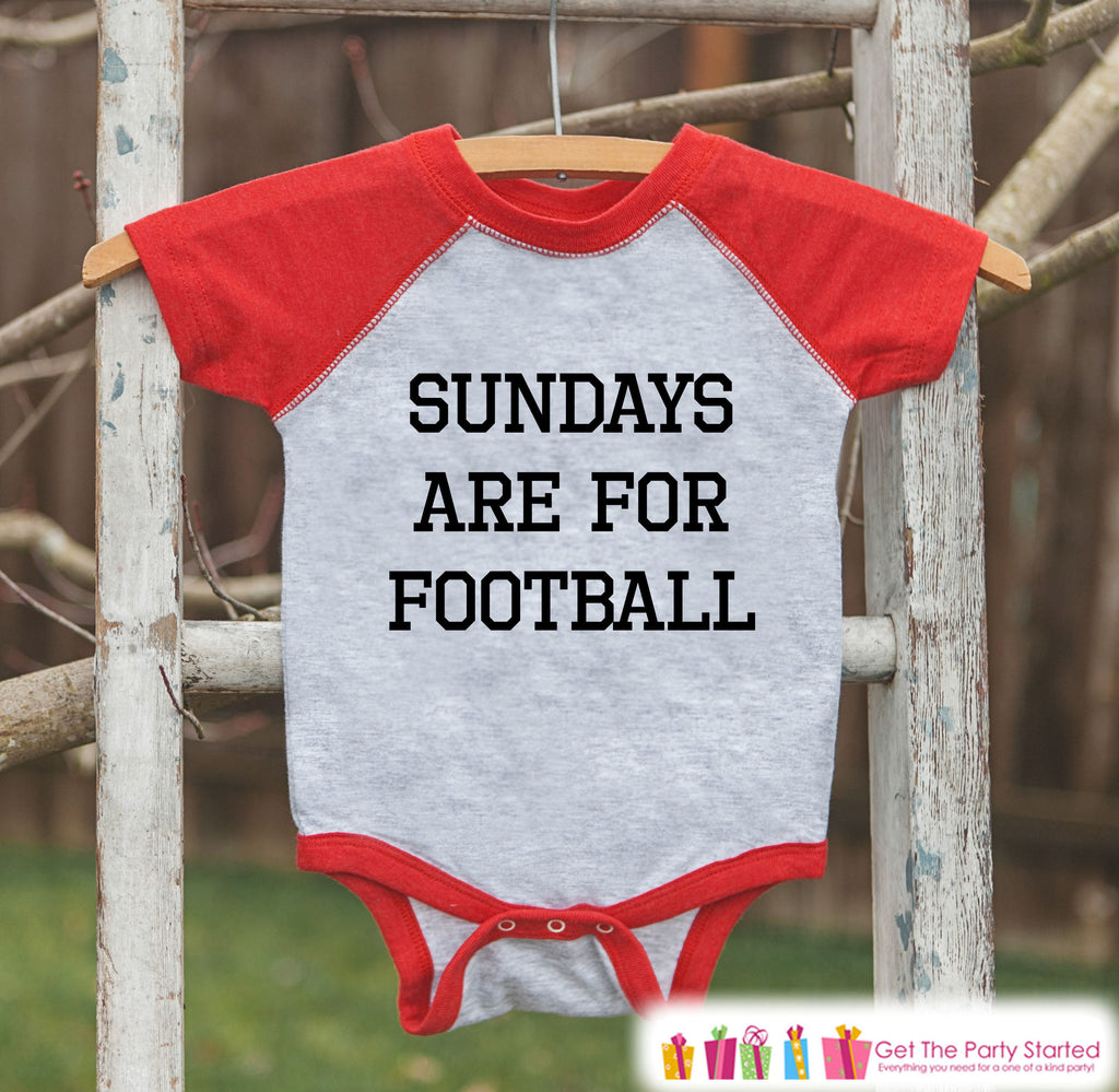 Kids Football Tee - Sundays Are For Football - Boy or Girl Onepiece or Tshirt - Football Sunday - Baby, Toddler, Youth Red Raglan - Sporty
