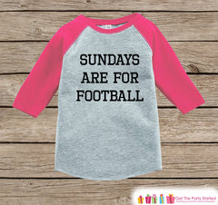 Girls Football Tee - Sundays Are For Football - Baby Girl Onepiece or Tshirt - Football Sunday - Baby, Toddler, Youth Pink Raglan - Sporty