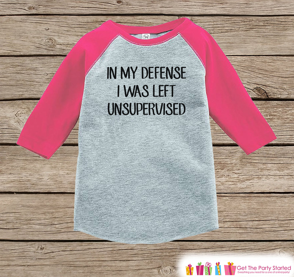 Funny Girls Shirt - I Was Left Unsupervised - Baby Girl Onepiece or T-shirt - Funny Shirt - Kids, Toddler, Youth Gift Idea - Pink Raglan
