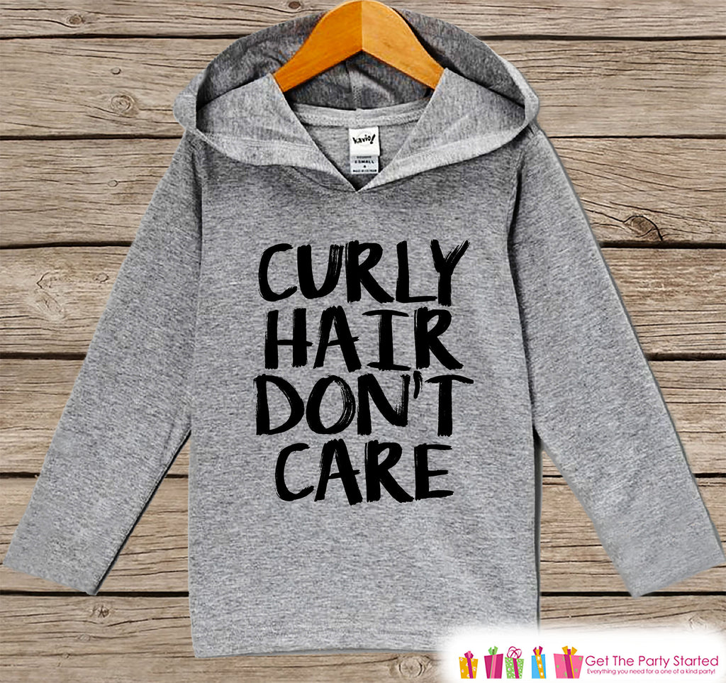 Funny Kids Shirt - Curly Hair Don't Care Hoodie - Boys or Girls Novelty Shirt - Grey Pullover - Gift Idea for Baby, Infant, Kids, Toddler