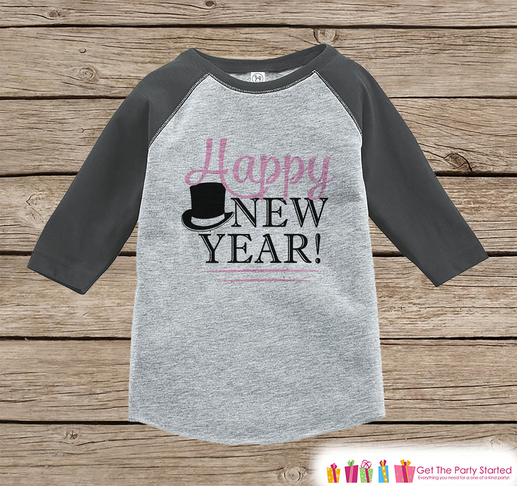 Kids New Year Shirts - Happy New Year - New Years Eve - Girls Onepiece or Shirt - Infant, Toddler Grey Baseball Tee - Pink Tophat