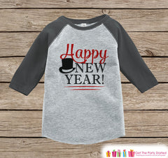 Kids New Year Shirts - Happy New Year - New Years Eve - Girls or Boys Onepiece or Shirt - Infant, Toddler Grey Baseball Tee - Red Tophat