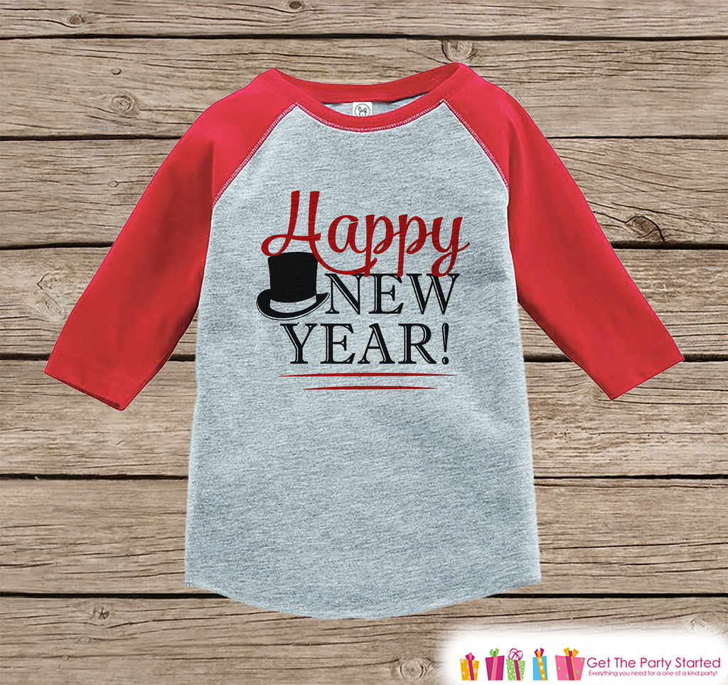 Kids New Year Shirts - Happy New Year - New Years Eve - Girls or Boys Onepiece or Shirt - Infant, Toddler Red Baseball Tee - Red Tophat