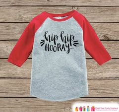 Kids New Year Shirts - Hip Hip Horray - Happy New Years Eve - Boy or Girls Onepiece or Shirt - Infant, Toddler Red Baseball Tee