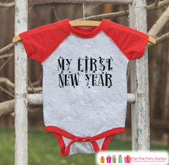 Kids New Year Shirts - My First New Year - Happy New Years Eve Outfit - New Years Eve Onepiece or Shirt - Infant, Baby Red Baseball Tee
