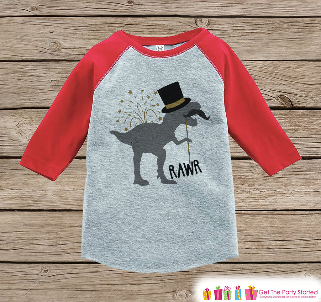 Kids New Years Shirt - Funny New Years Eve Dinosaur - Red Raglan Tshirt or Onepiece - Funny New Years Dino - Kids New Year Dinosaur T-shirt