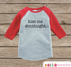 Kids New Year Shirts - Kiss Me @Midnight - Happy New Years Eve Outfit - New Years Eve Onepiece or Shirt - Infant, Toddler Red Baseball Tee