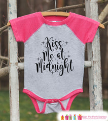 Girls New Year Shirts - Kiss Me At Midnight - Happy New Years Eve Outfit - New Years Onepiece or Shirt - Kids Pink Baseball Tee - Script