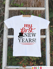 My First New Years Outfit - Baby Boy or Girl Happy New Years Eve Onepiece or T-shirt - Baby's 1st New Year's Eve - Red Tophat