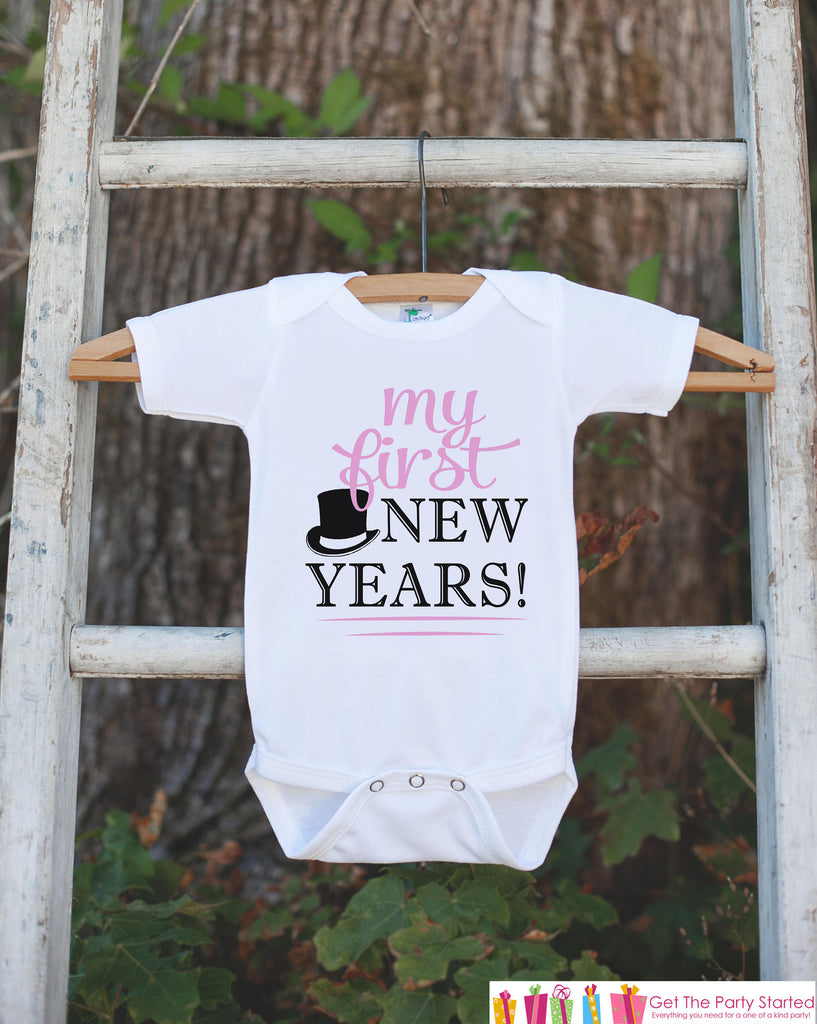 Baby Girl's My First New Years Outfit - Happy New Years Eve Onepiece or T-shirt - Infant Newborn 1st New Year Eve Outfit - Pink Tophat