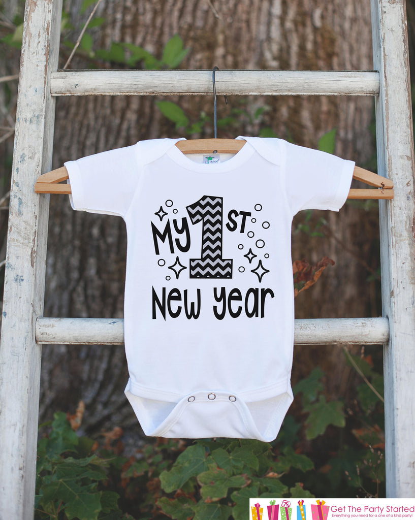 First New Year Outfit - My 1st New Year - Baby Boy or Girl's New Years Eve Onepiece or T-shirt - Happy New Years Eve - Infant, Newborn