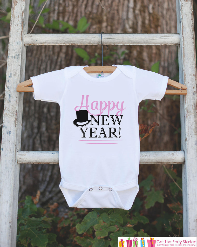 Happy New Year Outfit - Girls Happy New Years Eve Onepiece or T-shirt - Kids New Years Eve Shirt - Girls New Year Outfit - Pink Tophat