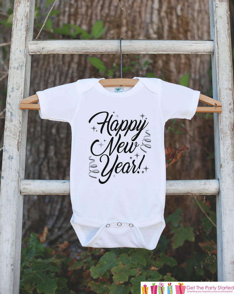 Kids New Year Outfit - Happy New Year - Boy or Girl's New Years Eve Onepiece or T-shirt - Happy New Years - Baby, Toddler, Youth - Script