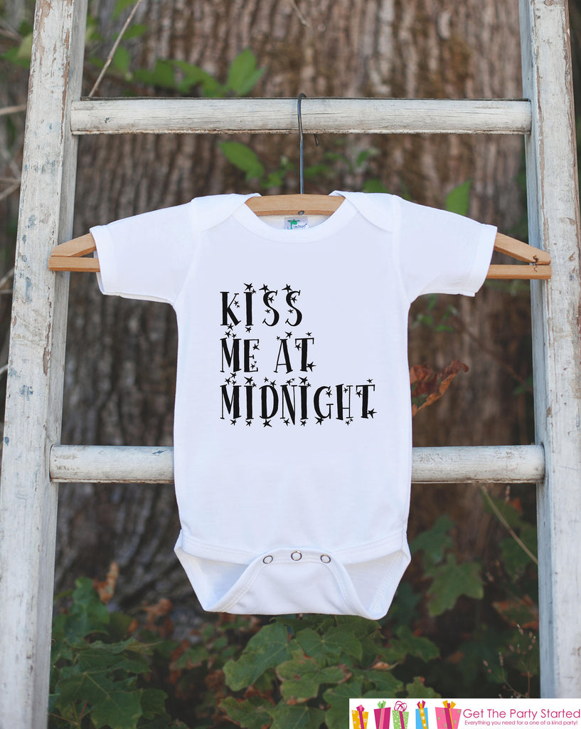 New Year Outfit - Kiss Me at Midnight - Boy or Girl's New Years Eve Onepiece or T-shirt - Happy New Years - Baby, Toddler, Youth - Stars