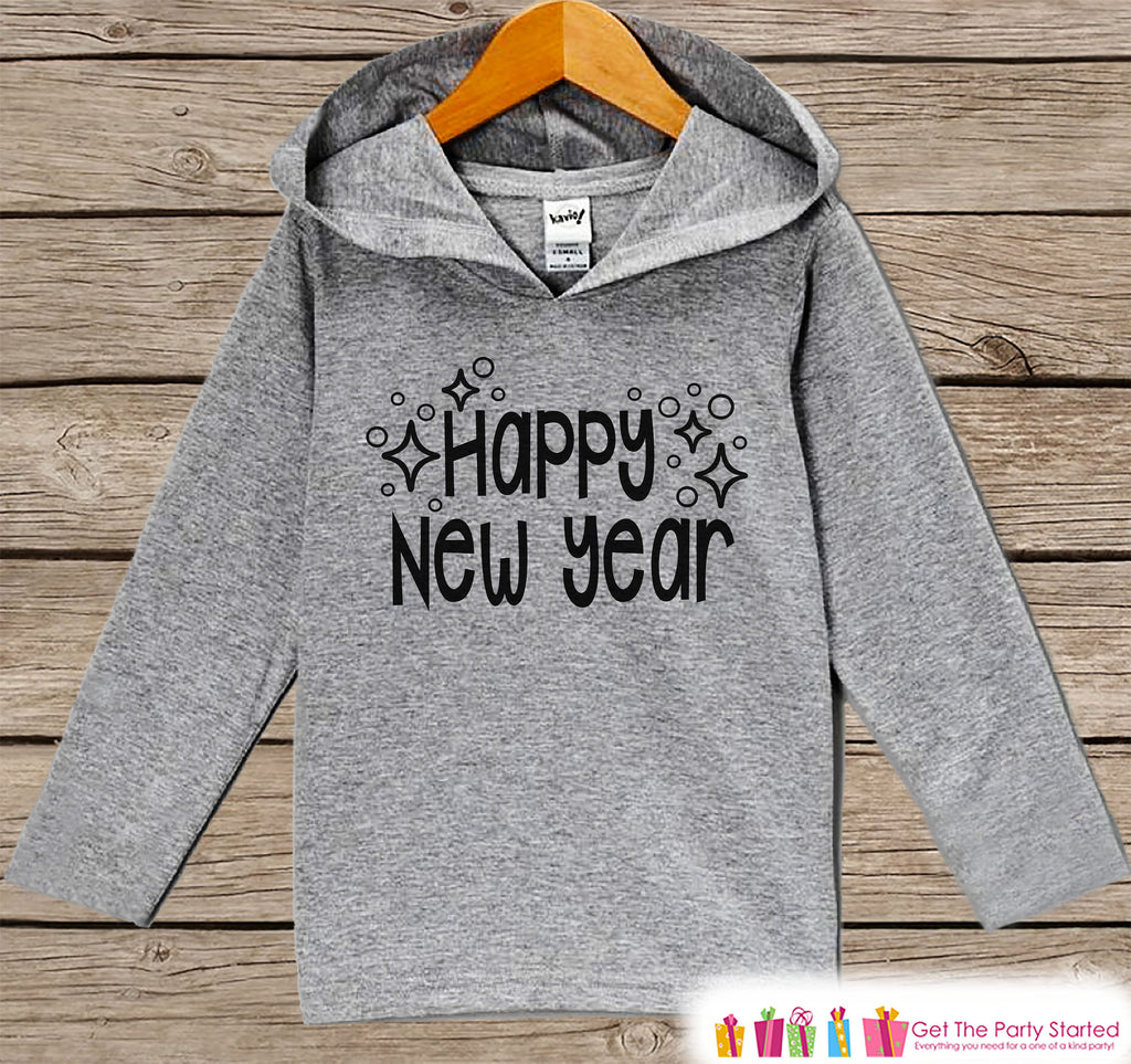 Kid's New Years Shirts - Happy New Year - Boy or Girl Happy New Years Eve Outfit - Baby, Toddler New Year's Eve Party Hoodie