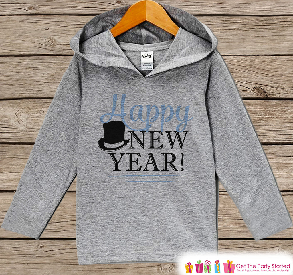 Kid's New Years Shirts - Happy New Year - Boy or Girl Happy New Years Eve Outfit - Baby, Toddler New Year's Eve Party Hoodie - Blue Tophat