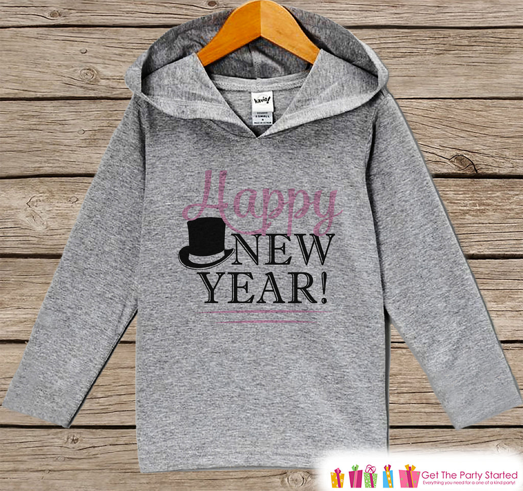 Girl's New Years Shirts - Happy New Year - Baby Girl Happy New Years Eve Outfit - Baby, Toddler New Year's Eve Party Hoodie - Pink Tophat