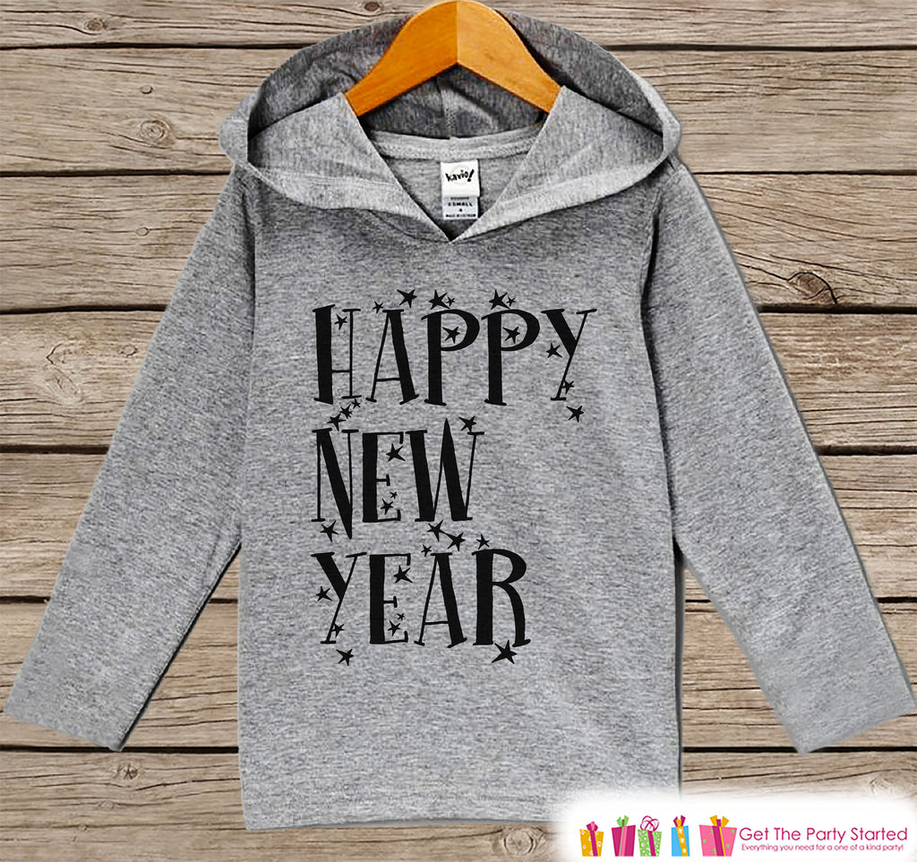 Kid's New Years Shirts - Happy New Year - Boy or Girl Happy New Years Eve Outfit - Baby, Toddler New Year's Eve Party Hoodie - Stars