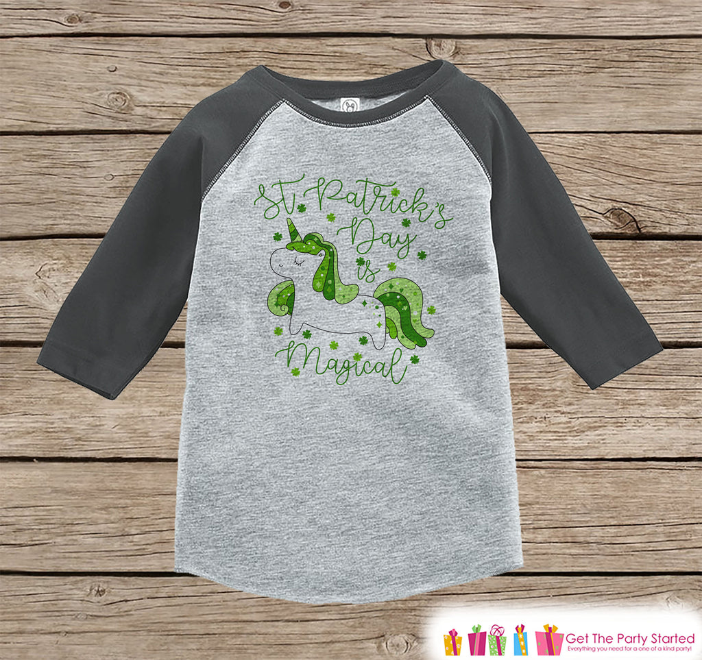 Kids Unicorn Shirt - Irish Unicorn - St. Patricks Day is Magical - Boys or Girls Onepiece or Tshirt - Kids, Toddler, Youth Grey Raglan