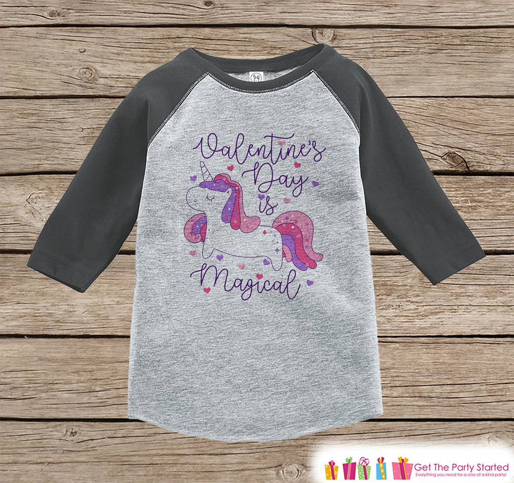 Girls Unicorn Shirt - Valentines Day is Magical Purple Unicorn - Love Unicorn - Girls Onepiece or Tshirt - Kids, Toddler, Youth Grey Raglan