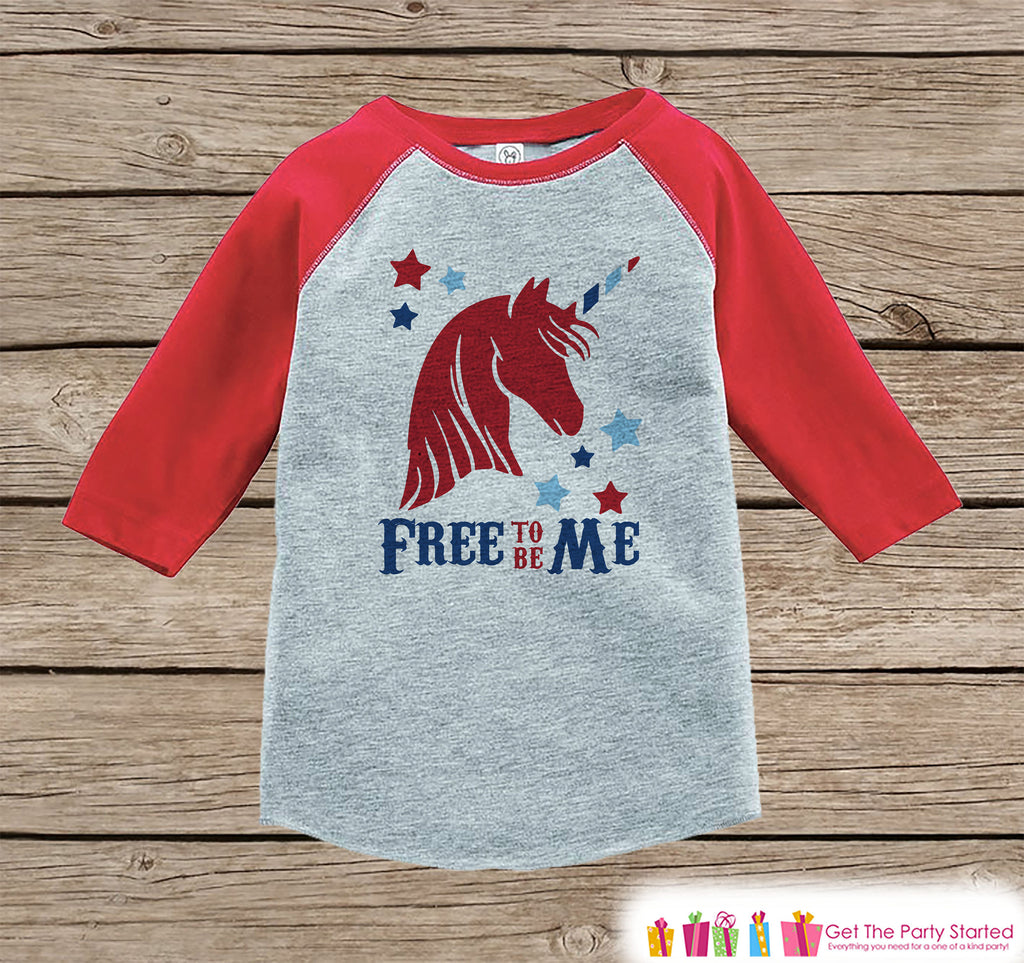 Kids Unicorn Shirt - Free to Be Me - 4th of July Boy or Girl Onepiece or Tshirt - Funny Unicorn Shirt - Kids, Toddler, Youth Red Raglan