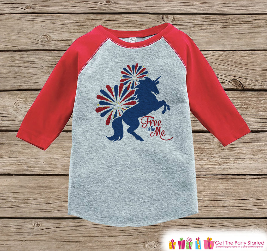 Kids Unicorn Shirt - Free to Be Me - 4th of July Fireworks Boy or Girl Onepiece or Tshirt - Unicorn Shirt - Kids, Toddler, Youth Red Raglan