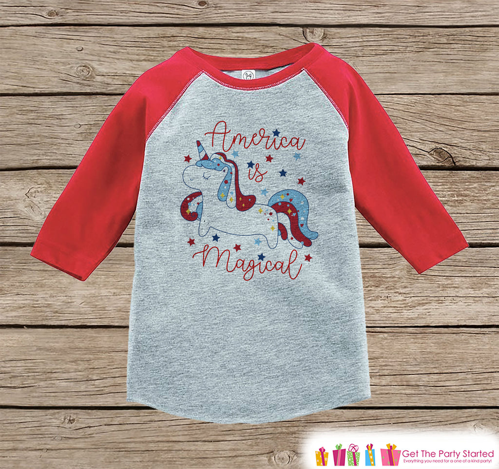 Unicorn Shirt - America is Magical - Kids 4th of July Boy or Girl Onepiece or T-shirt - Unicorn Shirt - Kids, Toddler, Youth Red Raglan