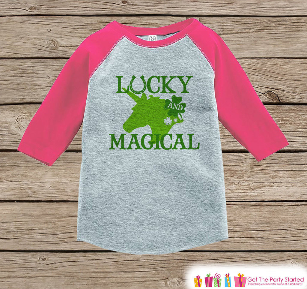 Kids Unicorn Shirt - Lucky and Magical - St. Patricks Day Unicorn - Girls Onepiece or Tshirt - Baby, Kids, Toddler, Youth Pink Raglan
