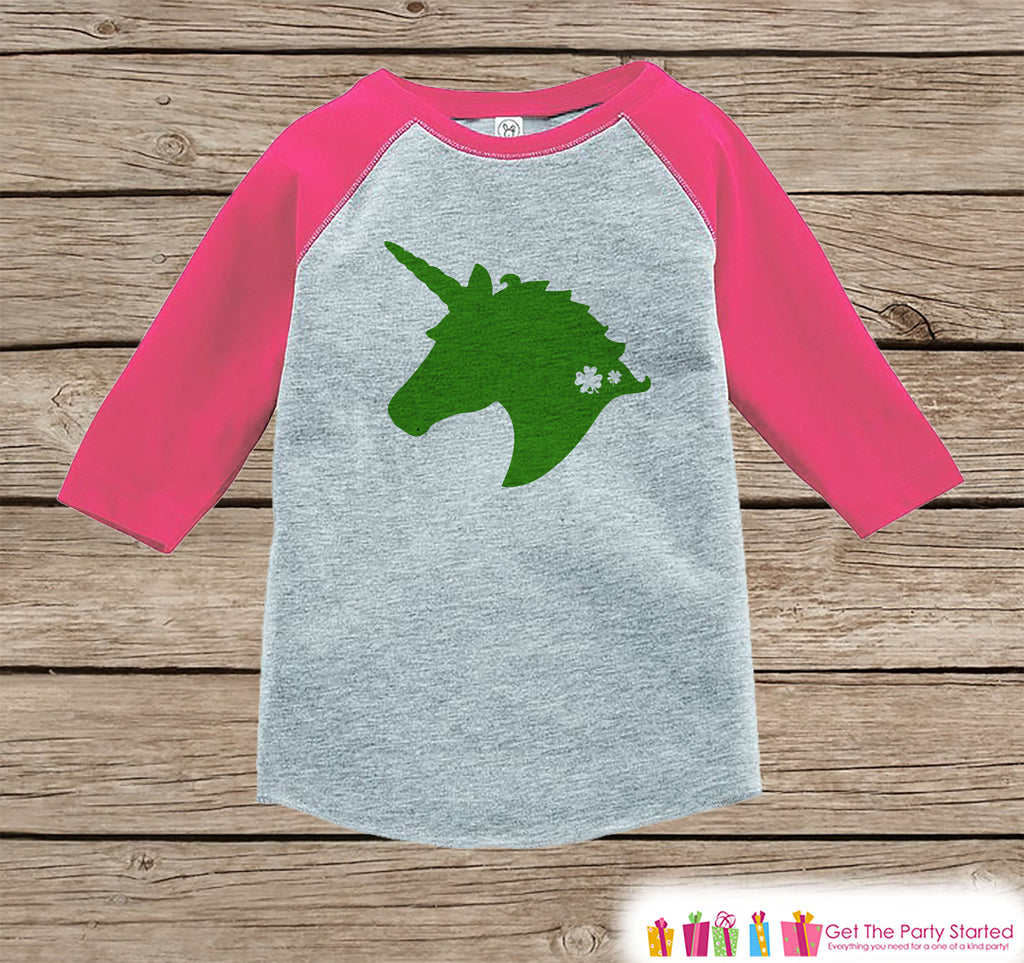 Kids Unicorn Shirt - Green Unicorn Silhouette - Irish Unicorn - Girls St. Patricks Day Onepiece or Tshirt - Toddler, Youth Pink Raglan