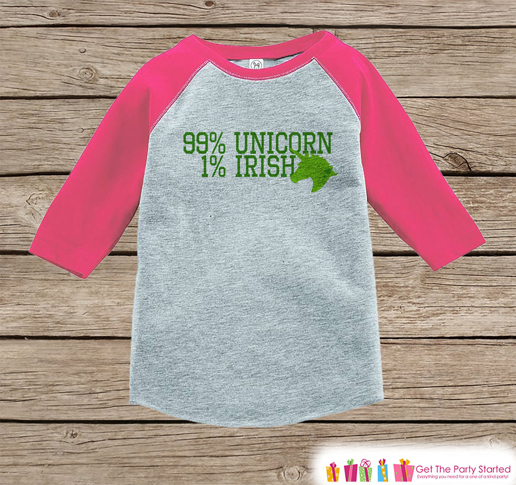 Kids Unicorn Shirt - Irish Unicorn - 99% Unicorn - St. Patricks Day Girls Onepiece or Tshirt - Baby, Kids, Toddler, Youth Pink Raglan