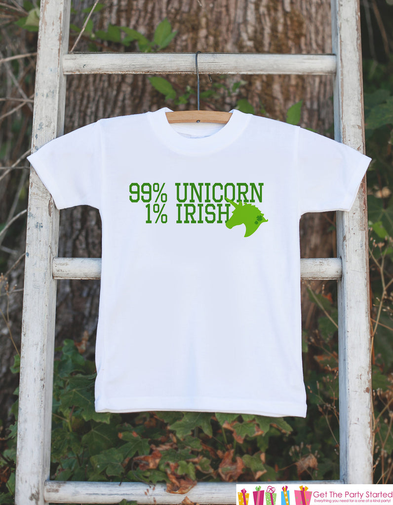 Kids Unicorn Shirts - 99% Unicorn - St Patrick's Day Unicorn Onepiece or T-shirt - Girl's Irish Unicorn - Baby, Infant, Toddler, Youth