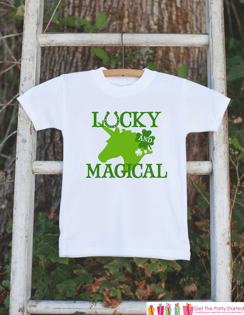 Kids Unicorn Shirts - Lucky & Magical - St Patrick's Day Unicorn Onepiece or T-shirt - Girl's Irish Unicorn - Baby, Infant, Toddler, Youth