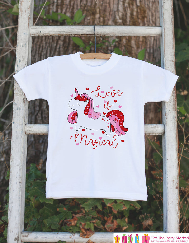 Kids Unicorn Shirts - Love is Magical Unicorn - Girl's Valentine's Day Onepiece or T-shirt - Love Unicorn - Baby, Infant, Toddler, Youth