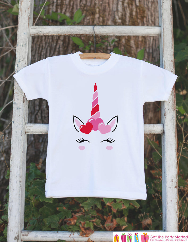 Kids Unicorn Shirts - Pink Heart Crown Unicorn - Girl's Valentine's Day Onepiece or T-shirt - Love Unicorn - Baby, Infant, Toddler, Youth
