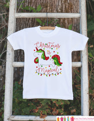 Kids Unicorn Shirts - Christmas Is Magical Unicorn - Girl's Unicorn Christmas Onepiece or T-shirt - Holiday Lights - Infant, Toddler, Youth