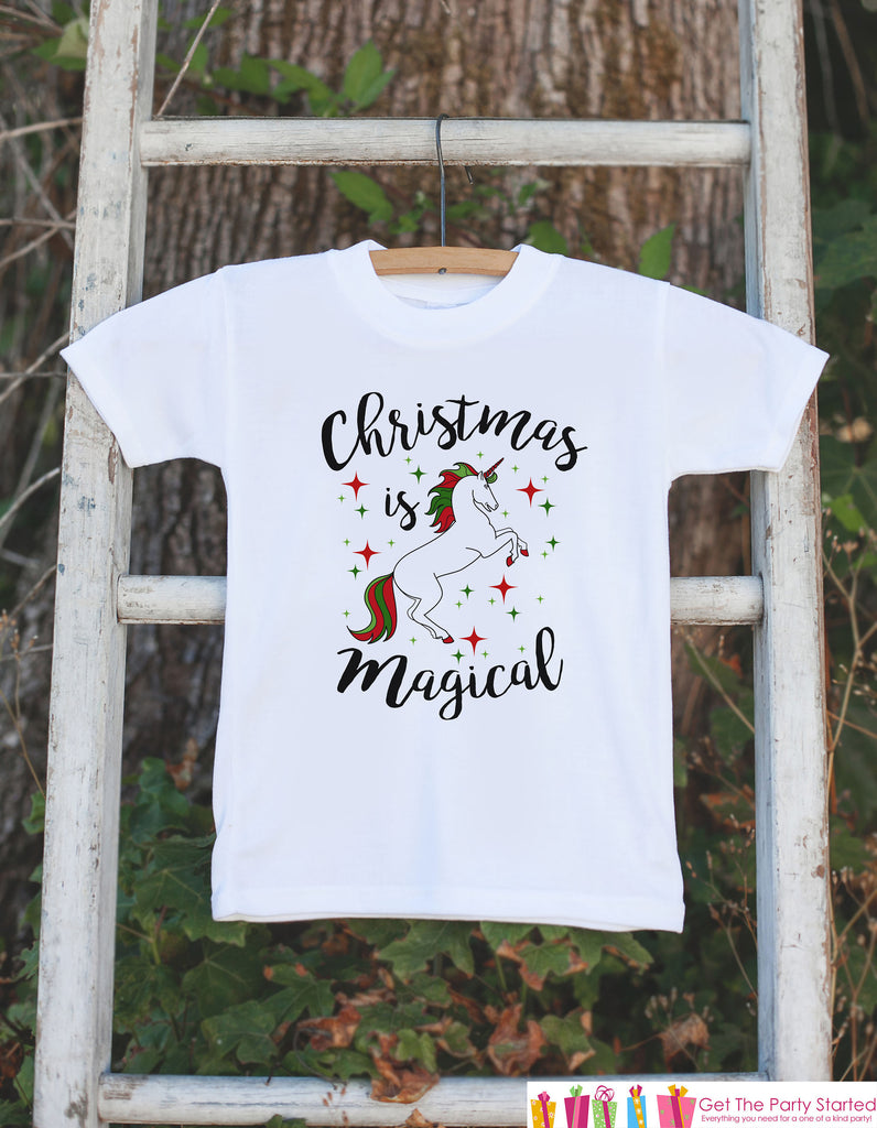Kids Unicorn Shirts - Christmas Is Magical Unicorn - Girls Unicorn Christmas Onepiece or Tshirt - Christmas Unicorn - Infant, Toddler, Youth