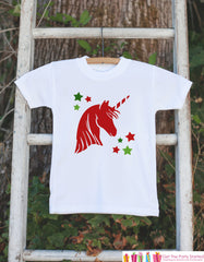 Kids Unicorn Shirts - Red Christmas Unicorn Head - Girls Unicorn Christmas Onepiece or Tshirt - Christmas Unicorn - Infant, Toddler, Youth