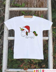 Kids Unicorn Shirts - Santa Hat Christmas Unicorn - Girls Unicorn Christmas Onepiece or Tshirt - Christmas Unicorn - Infant, Toddler, Youth