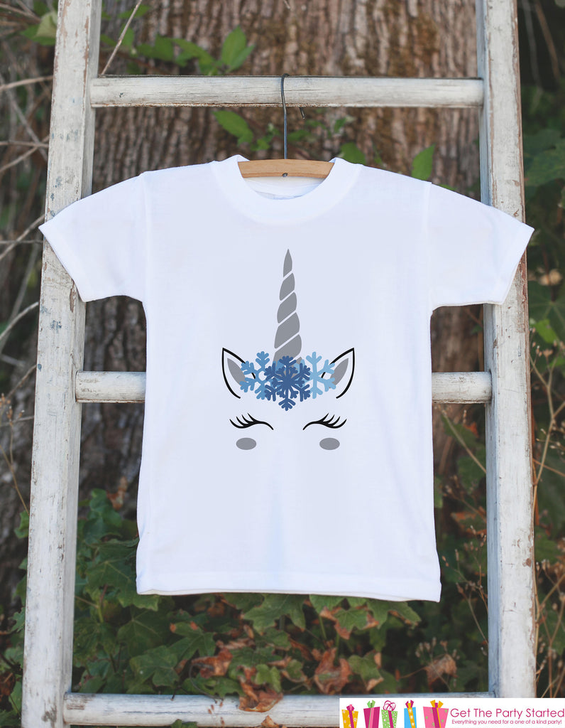 Kids Unicorn Shirts - Blue Snowflake Winter Unicorn - Girls Unicorn Winter Onepiece or Tshirt - Snow Unicorn - Infant, Toddler, Youth