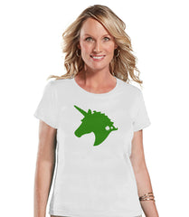 Women's Unicorn Shirt - St Patrick's Day Irish Unicorn T-shirt - Womens White T-shirt - Green Unicorn Head - Lucky Unicorn - Gift for Her